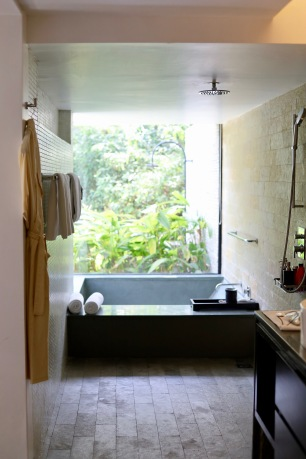 Our beautiful 'wet room' complete with rain shower and huge bathtub!